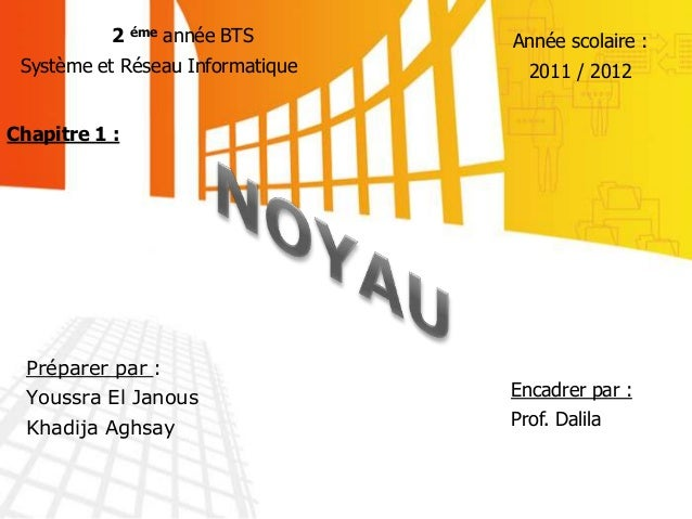 Préparer par : Youssra El Janous Khadija Aghsay 2 éme année BTS Système et Réseau Informatique Année scolaire : 2011 / 201...