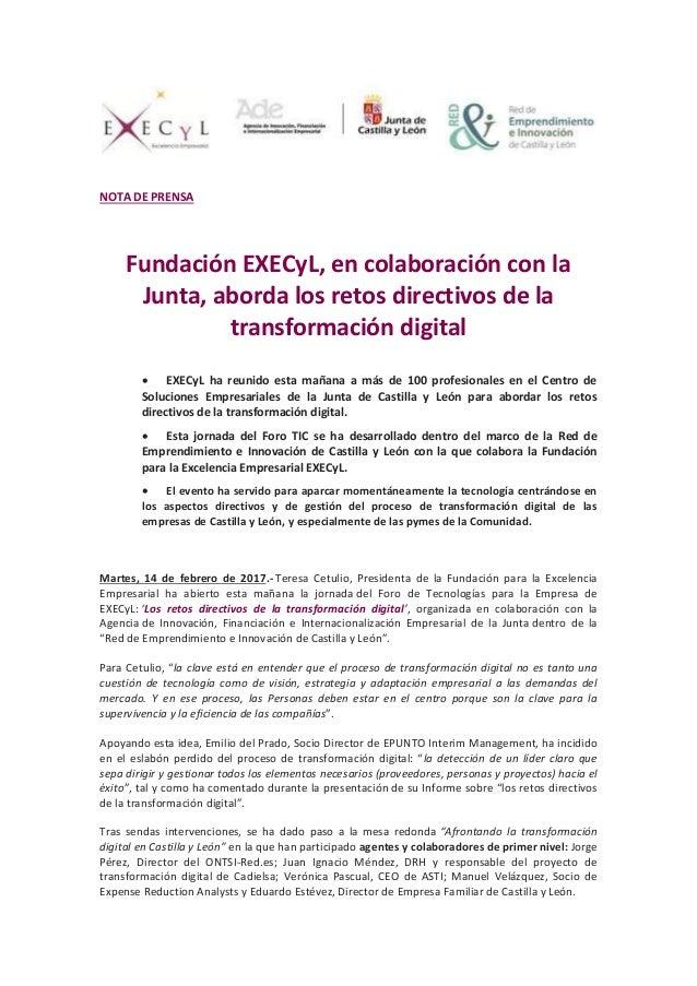 NP. Jornada EXECyL-ADE sobre Transformación Digital. 14F