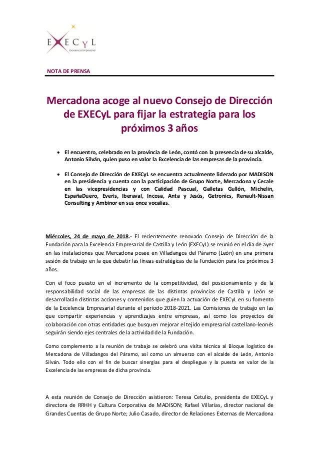 NOTA DE PRENSA Mercadona acoge al nuevo Consejo de Dirección de EXECyL para fijar la estrategia para los próximos 3 años ...