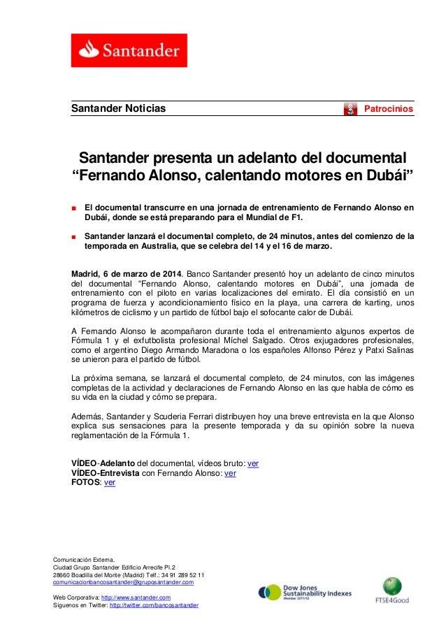 """Santander Noticias  Patrocinios  Santander presenta un adelanto del documental """"Fernando Alonso, calentando motores en Dub..."""