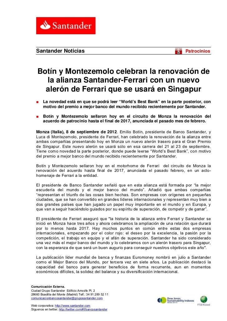 Santander Noticias                                                            Patrocinios    Botín y Montezemolo celebran ...