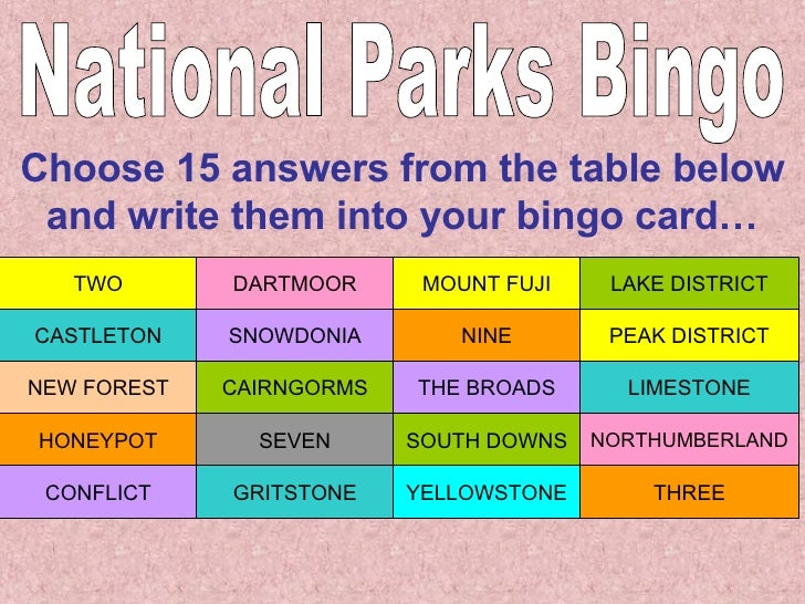 National Parks Bingo Choose 15 answers from the table below and write them into your bingo card… THREE YELLOWSTONE GRITSTO...