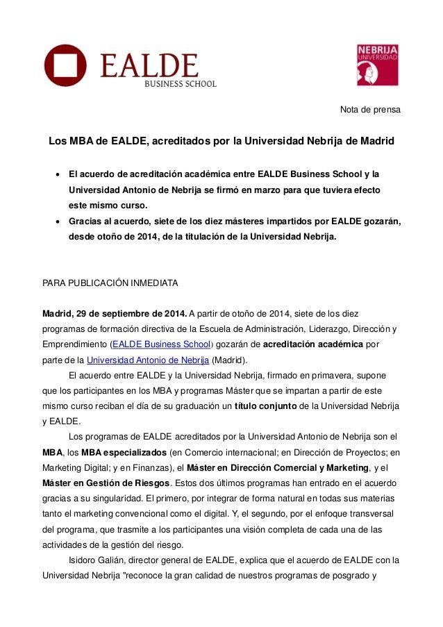 Acuerdo Ealde Business School y la universidad Antonio de Nebrija cdc1b39d037d4