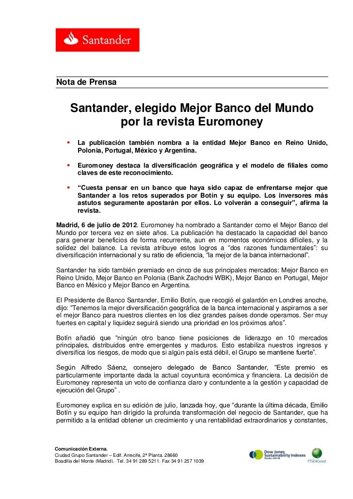 Nota de Prensa         Santander, elegido Mejor Banco del Mundo                 por la revista Euromoney         La publi...