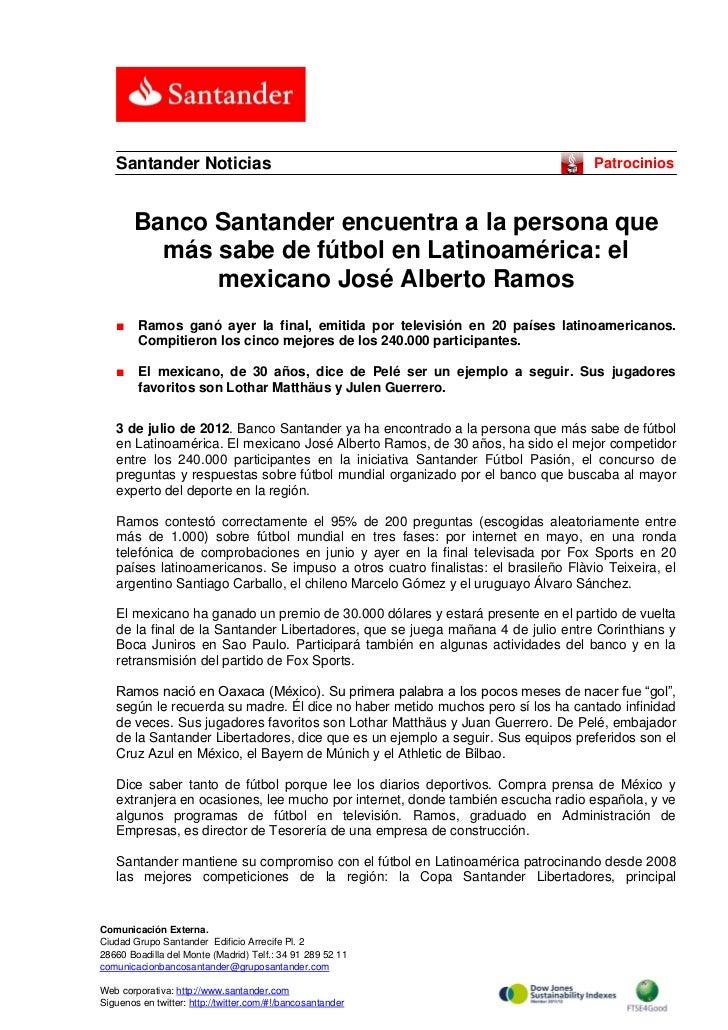 Santander Noticias                                                              Patrocinios       Banco Santander encuentr...