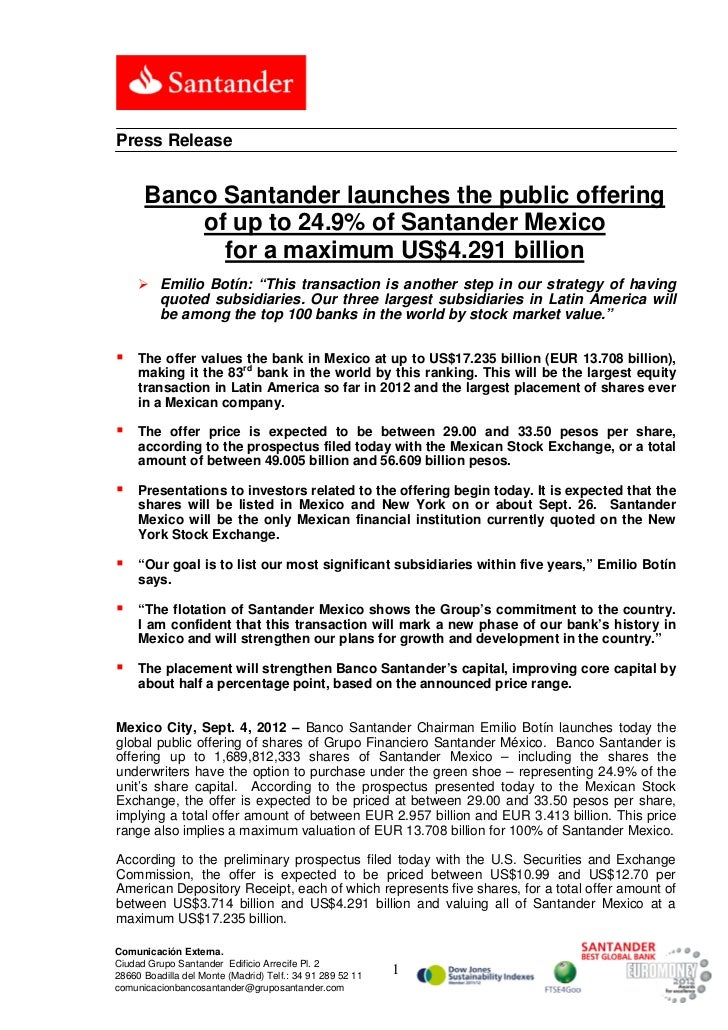 Press Release      Banco Santander launches the public offering          of up to 24.9% of Santander Mexico            for...