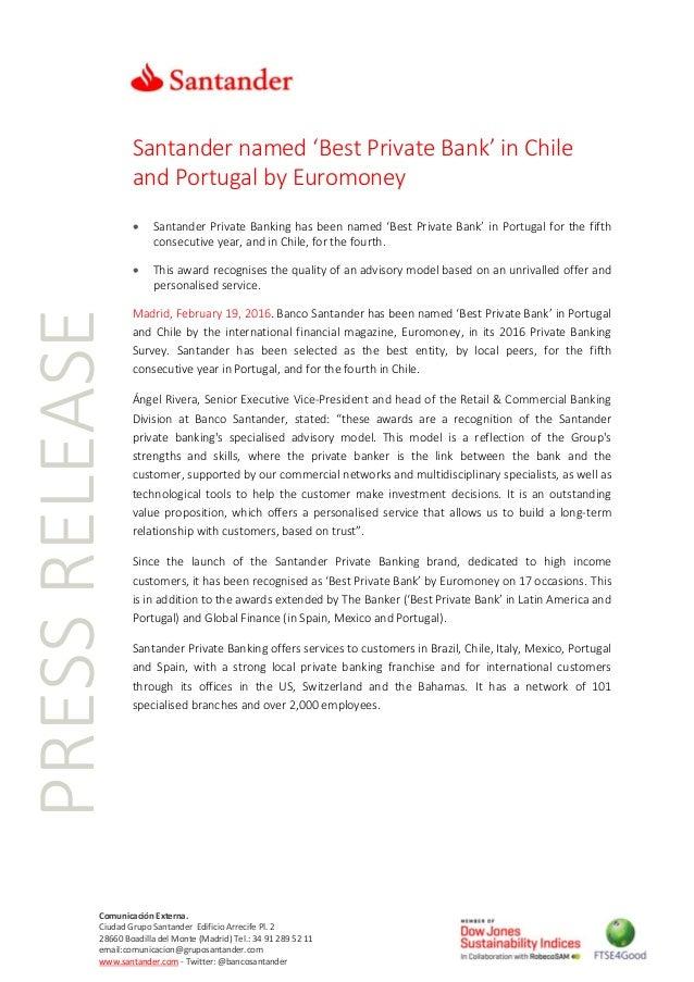 PRESSRELEASE Comunicación Externa. Ciudad Grupo Santander Edificio Arrecife Pl. 2 28660 Boadilla del Monte (Madrid) Tel.: ...