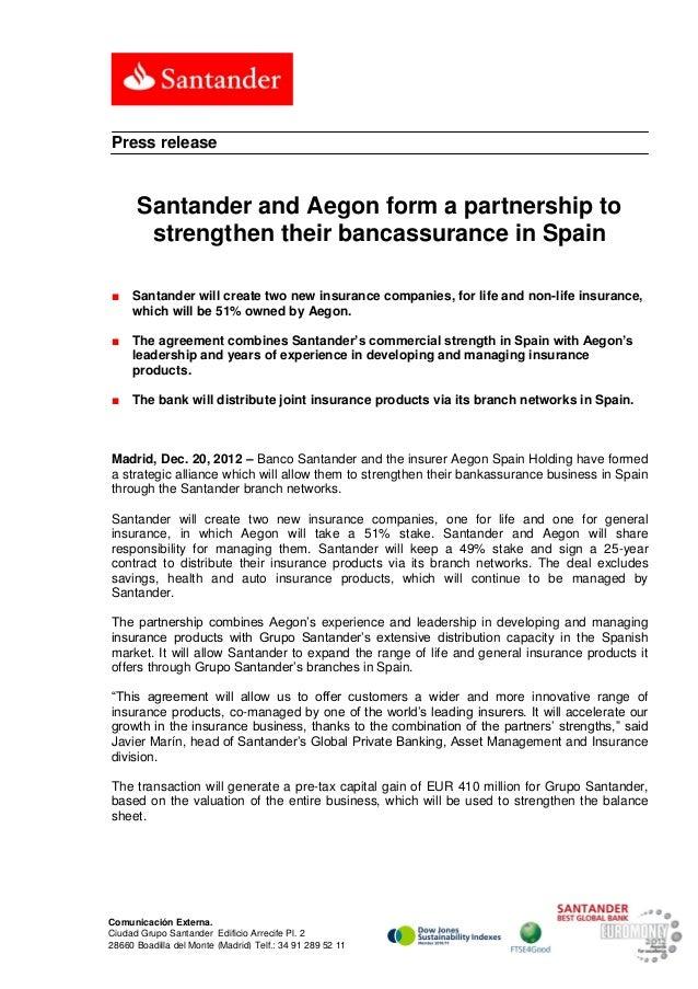 Santander and Aegon form a partnership to strengthen their bancassura…