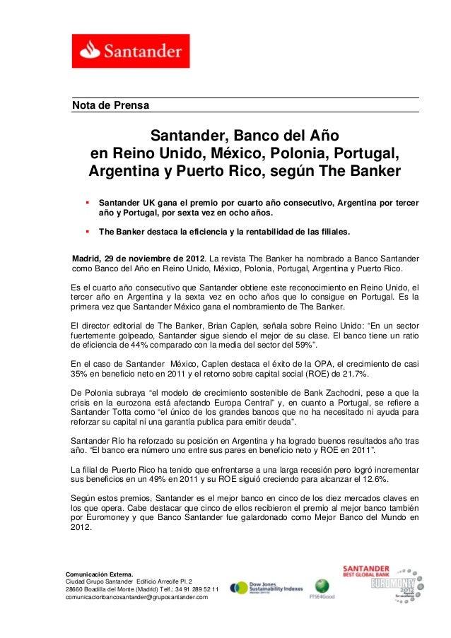 Nota de Prensa                Santander, Banco del Año        en Reino Unido, México, Polonia, Portugal,        Argentina ...