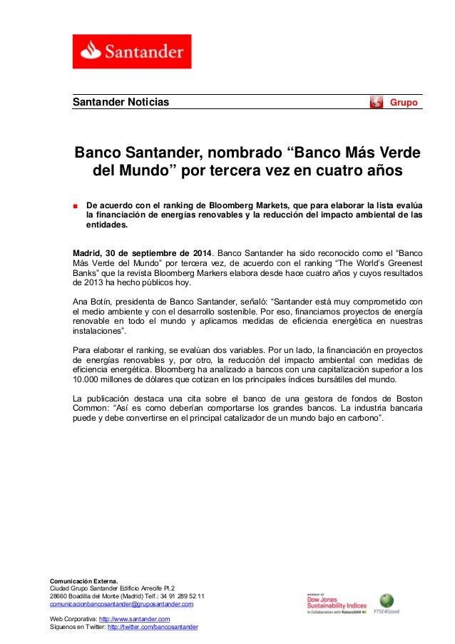 """Santander Noticias Grupo  Banco Santander, nombrado """"Banco Más Verde  del Mundo"""" por tercera vez en cuatro años  ■ De acue..."""