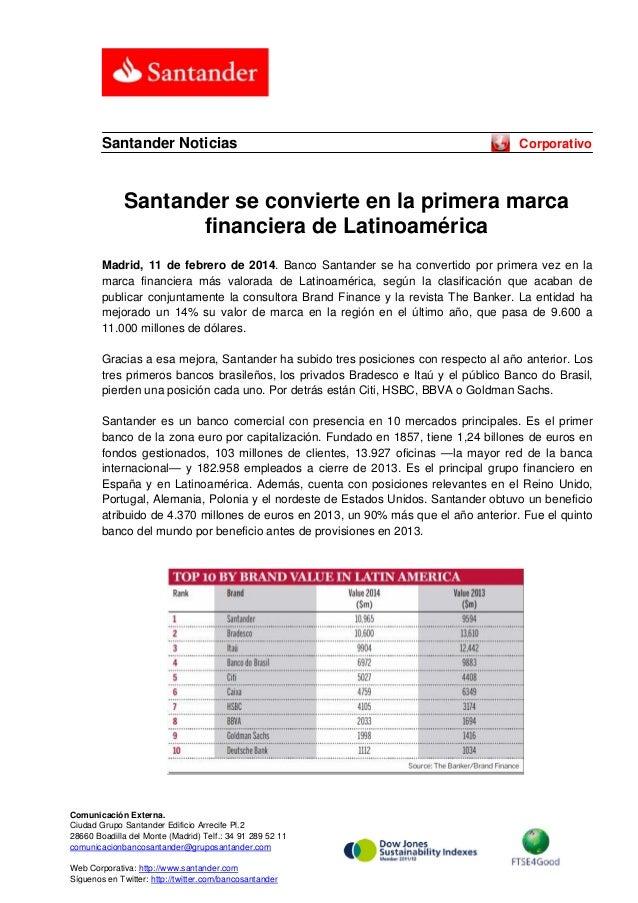 Santander Noticias  Corporativo  Santander se convierte en la primera marca financiera de Latinoamérica Madrid, 11 de febr...
