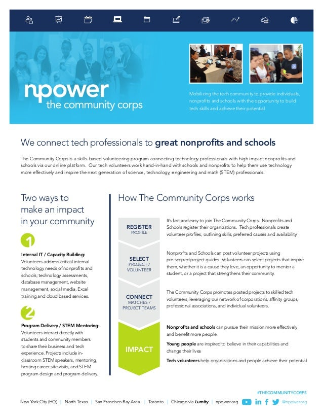 New York City (HQ) | North Texas | San Francisco Bay Area | Toronto | Chicago via Lumity | npower.org @npowerorg #THECOMMU...
