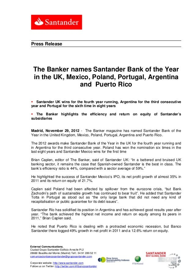 Press Release  The Banker names Santander Bank of the Year  in the UK, Mexico, Poland, Portugal, Argentina                ...