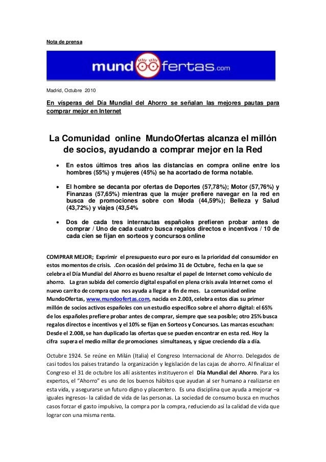 Nota de prensa Madrid, Octubre 2010 En vísperas del Día Mundial del Ahorro se señalan las mejores pautas para comprar mejo...