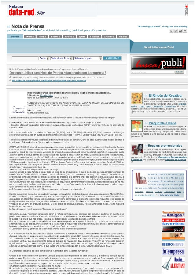 "Nota de Prensa publicada por ""Mundoofertas"" en el Portal del marketing, publicidad, promoción y medios. ""MarketingData-Red..."
