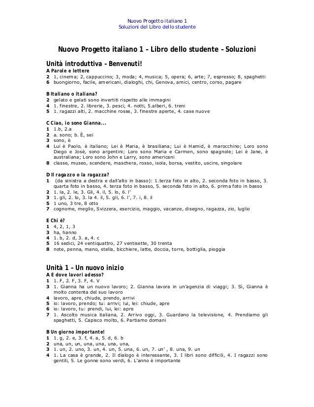 Chiavi Nuovo Progetto Italiano 1 Libro Dello Studente