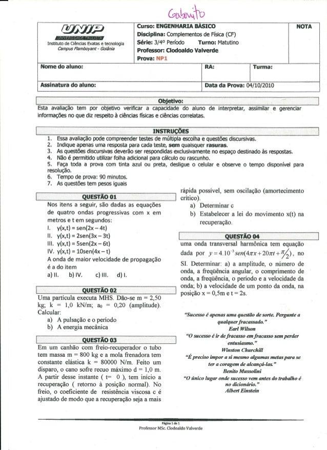 UNIP 4 Semestre -Np1 Complementos de Fisisca8