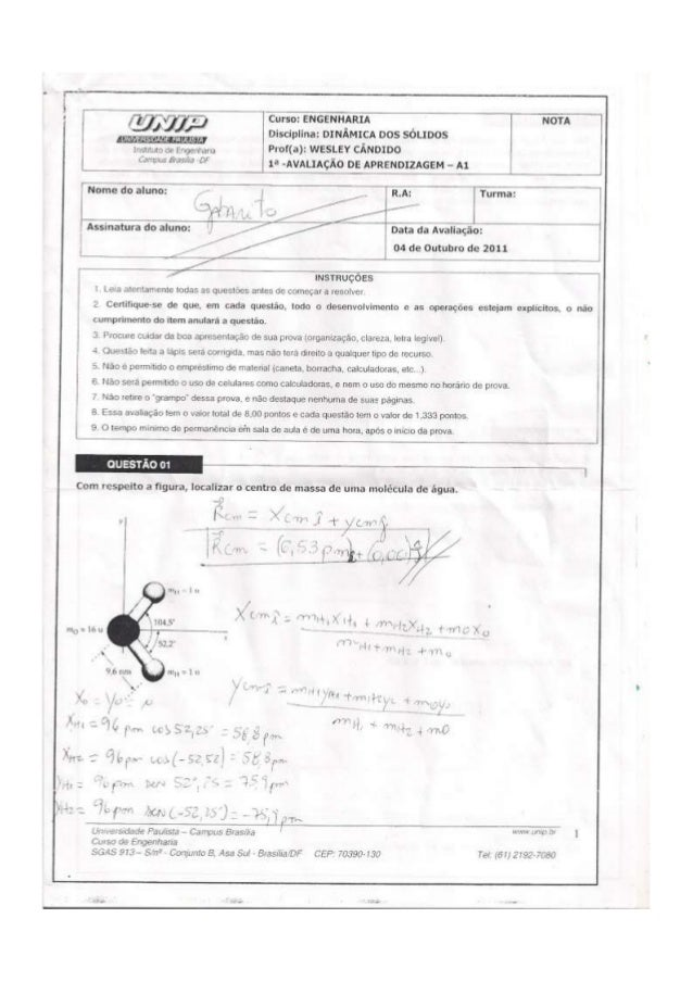 UNIP 4 Semestre -Np1 Dinamica dos solidos