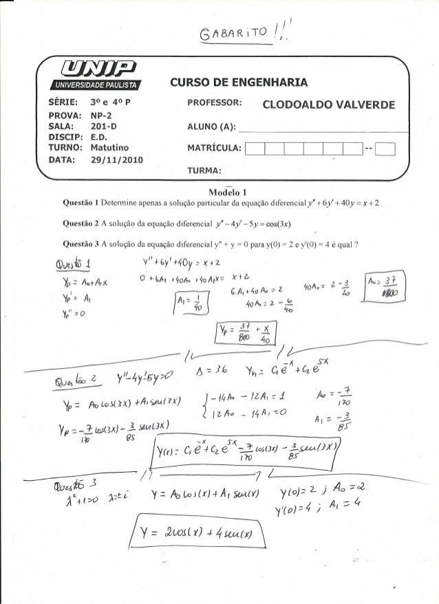 UNIP 4 Semestre -Np1 Equaçoes Diferenciais