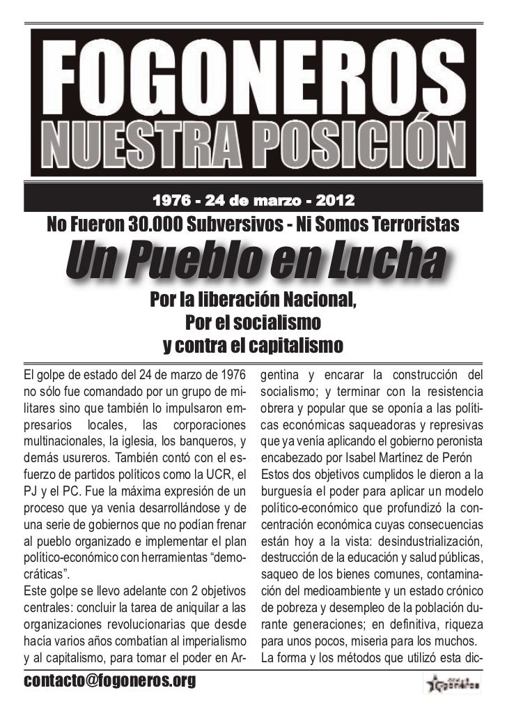 1976 - 24 de marzo - 2012    No Fueron 30.000 Subversivos - Ni Somos Terroristas        Un Pueblo en Lucha                ...