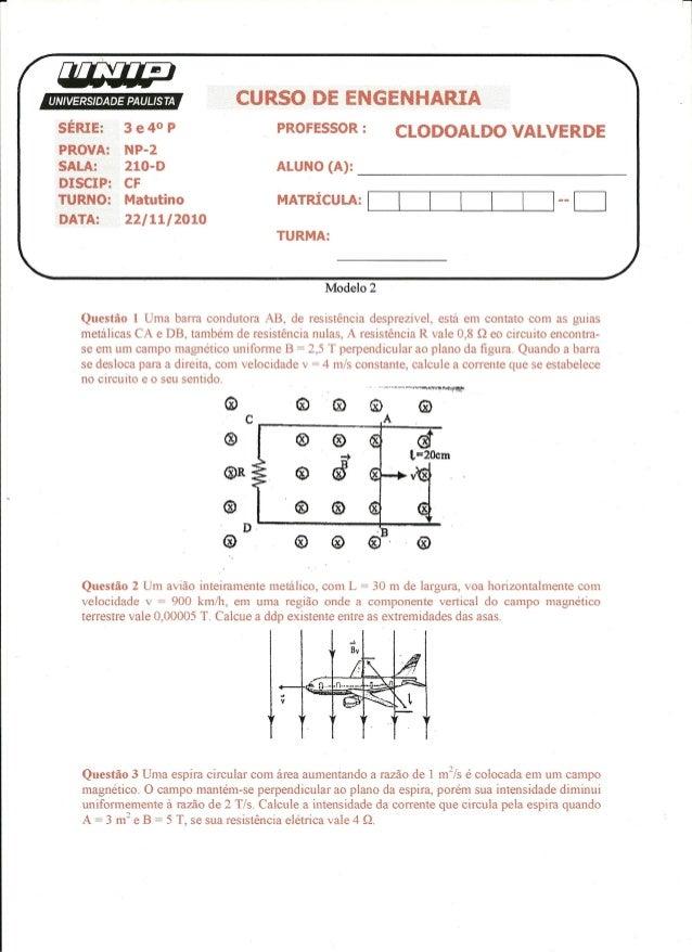 UNIP 4 Semestre -Np2 Complementos de Fisisca