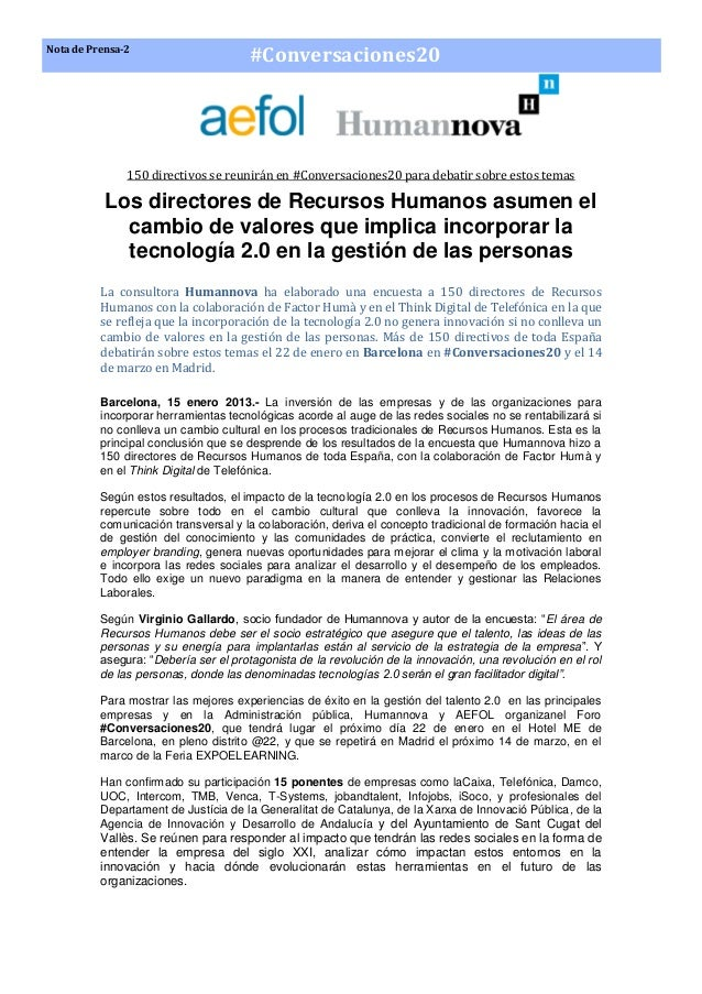 Nota de Prensa-2                                      #Conversaciones20               150 directivos se reunirán en #Conve...