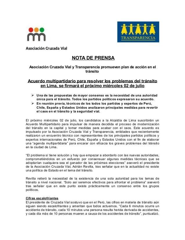 Asociación Cruzada Vial NOTA DE PRENSA Asociación Cruzada Vial y Transparencia promueven plan de acción en el tránsito Acu...