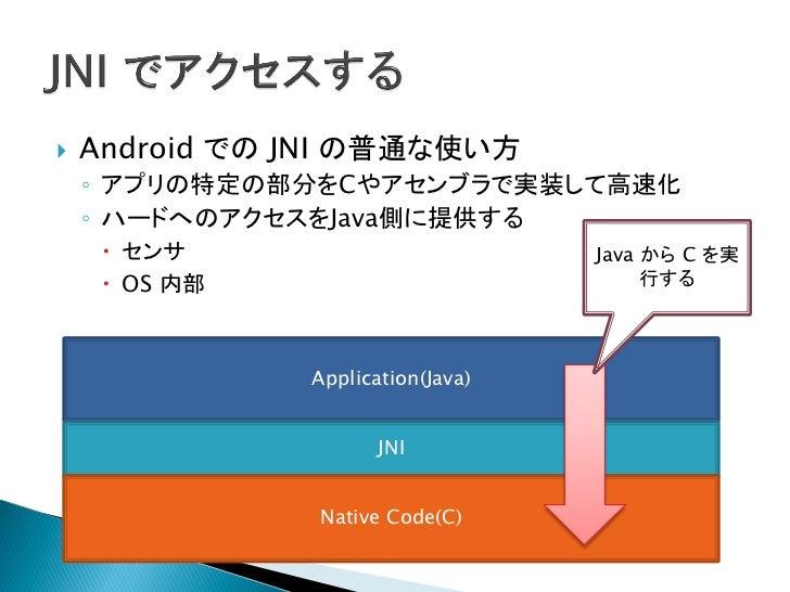    Plugin は C/C++ から Java を実行します。    ◦ Android Framework のリソースを取得    ◦ サービスとやりとりする                                       ...