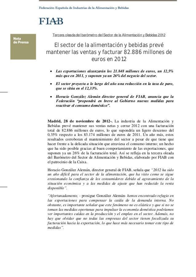 Tercera oleada del barómetro del Sector de la Alimentación y Bebidas 2012  El sector de la alimentación y bebidas prevéman...