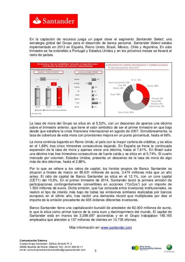 5 Comunicación Externa. Ciudad Grupo Santander Edificio Arrecife Pl. 2 28660 Boadilla del Monte (Madrid) Telf.: 34 91 289 ...