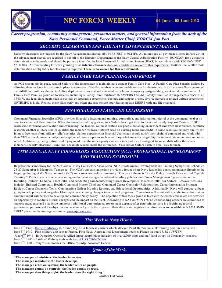 NPC FORCM WEEKLY                                                        04 June – 08 June 2012Career progression, communit...