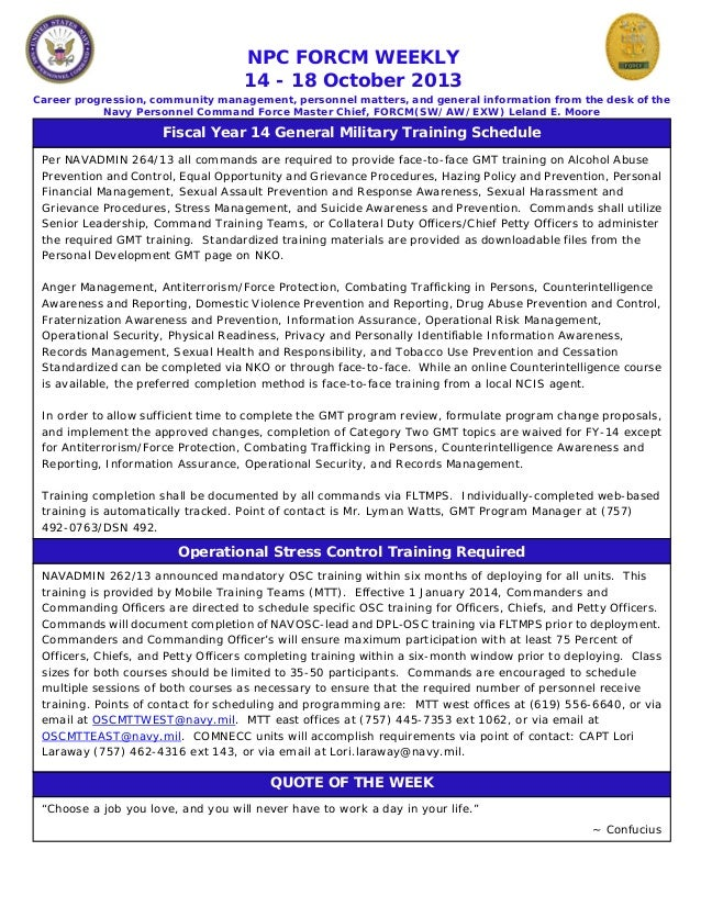 NPC FORCM WEEKLY 14 - 18 October 2013 Career progression, community management, personnel matters, and general information...