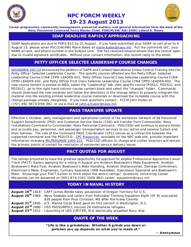 NPC FORCM WEEKLY 19-23 August 2013 Career progression, community management, personnel matters, and general information fr...