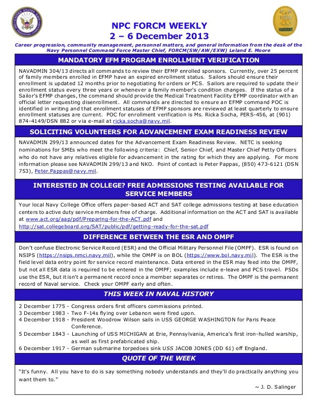 NPC FORCM WEEKLY 2 – 6 December 2013 Career progression, community management, personnel matters, and general information ...