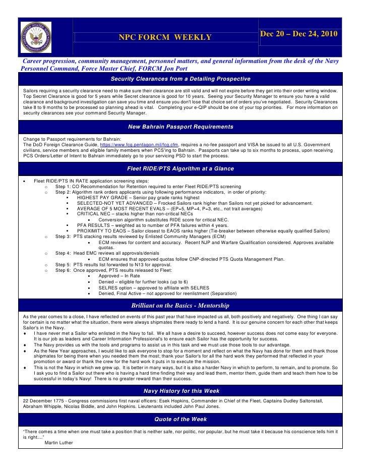 NPC FORCM WEEKLY                                                       Dec 20 – Dec 24, 2010 Career progression, community...
