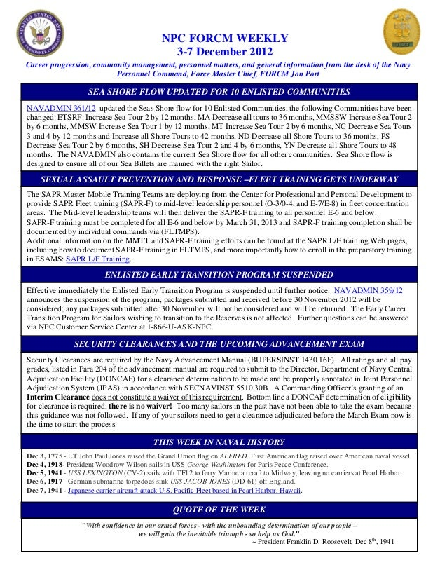 NPC FORCM WEEKLY                                              3-7 December 2012Career progression, community management, p...