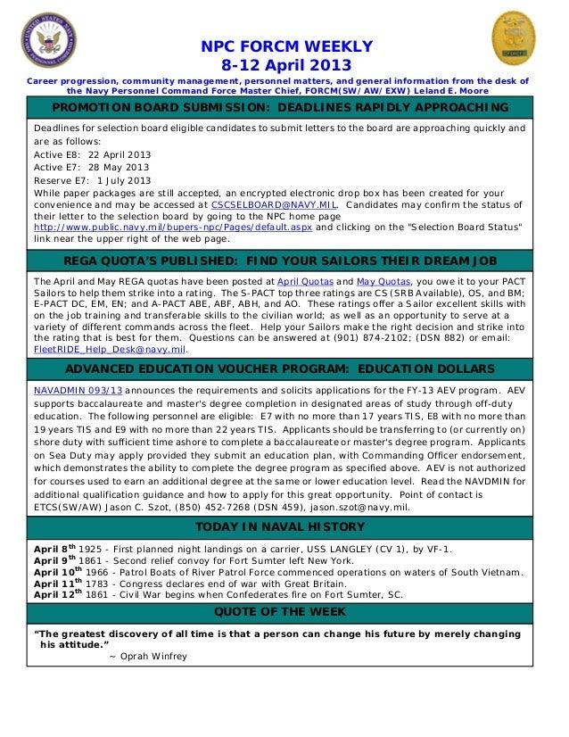 NPC FORCM WEEKLY                                       8-12 April 2013Career progression, community management, personnel ...