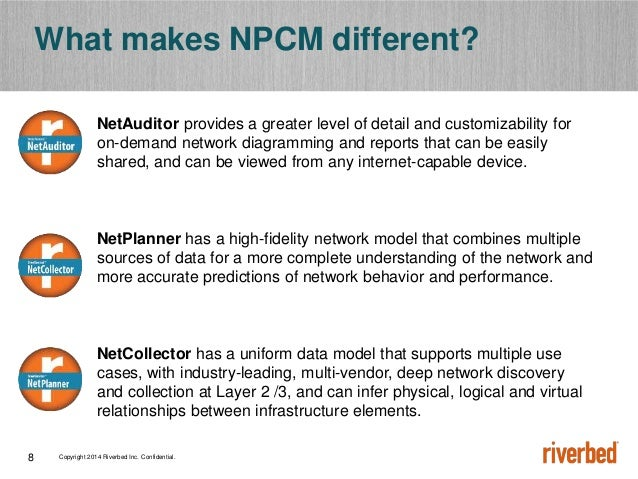 Copyright 2014 Riverbed Inc. Confidential.8 What makes NPCM different? NetAuditor provides a greater level of detail and c...