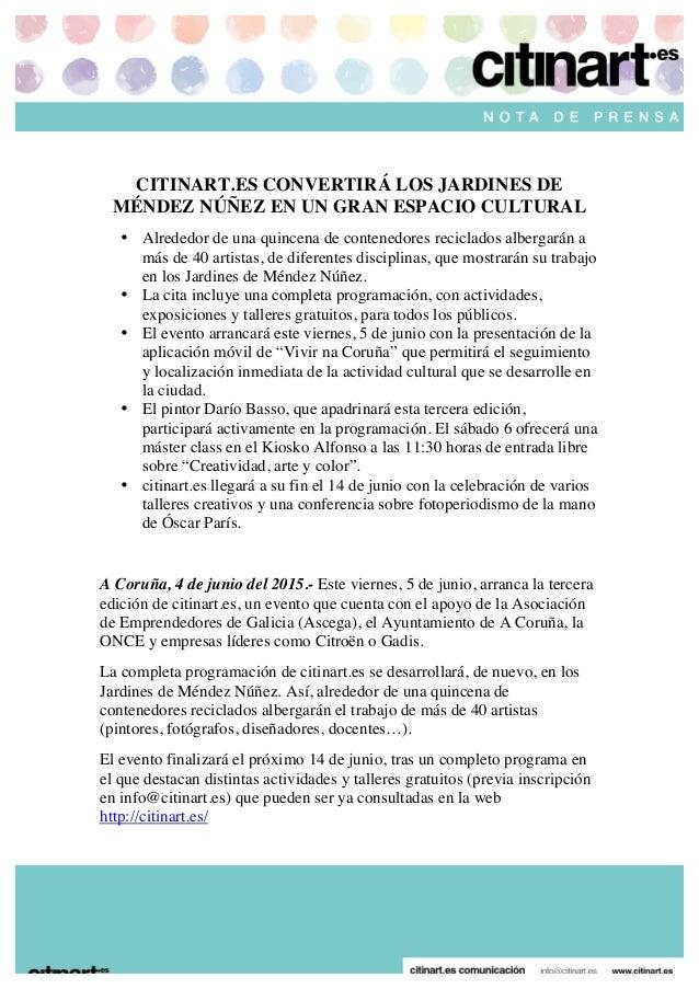 CITINART.ES CONVERTIRÁ LOS JARDINES DE MÉNDEZ NÚÑEZ EN UN GRAN ESPACIO CULTURAL • Alrededor de una q...