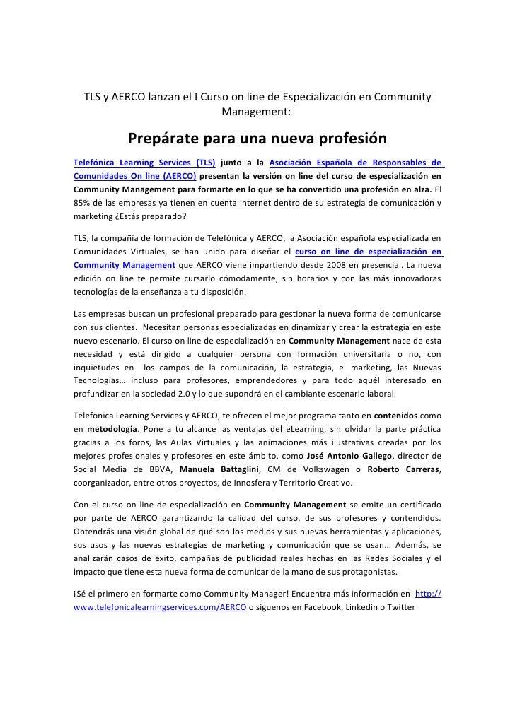 TLS y AERCO lanzan el I Curso on line de Especialización en Community                              Management:            ...