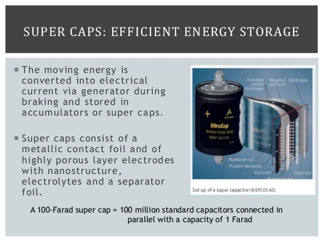 SUPER CAPS: EFFICIENT ENERGY STORAGE  The moving energy is converted into electrical current via generator during braking...