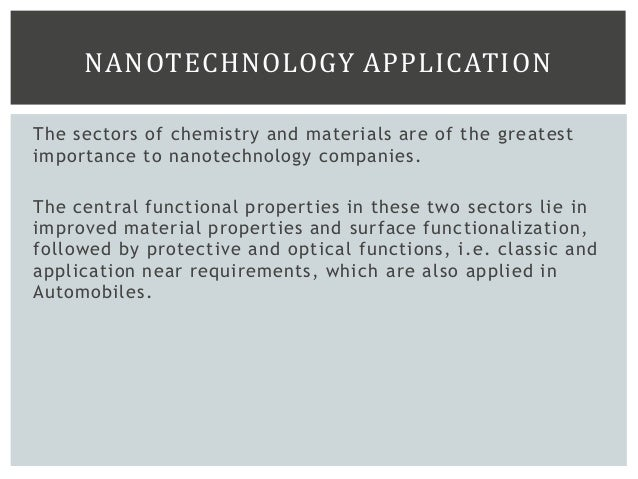 GROWTH POTENTIAL Taking into account the components in the automotive industry influenced by Nanotechnologies, the current...