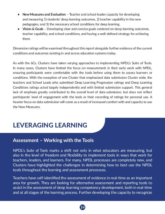 15 New Measures & Evaluation (156) deep learning while it is happening is a primary focus in Clusters throughout NPDL. The...
