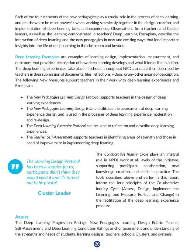 21 Design The New Pedagogies Learning Design Protocol facilitates the creation of deep learning experiences that address i...