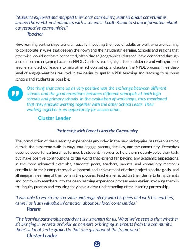 23 Key Findings: Learning Partnerships • Learning partnerships between students are cultivated in the new pedagogies, lea...