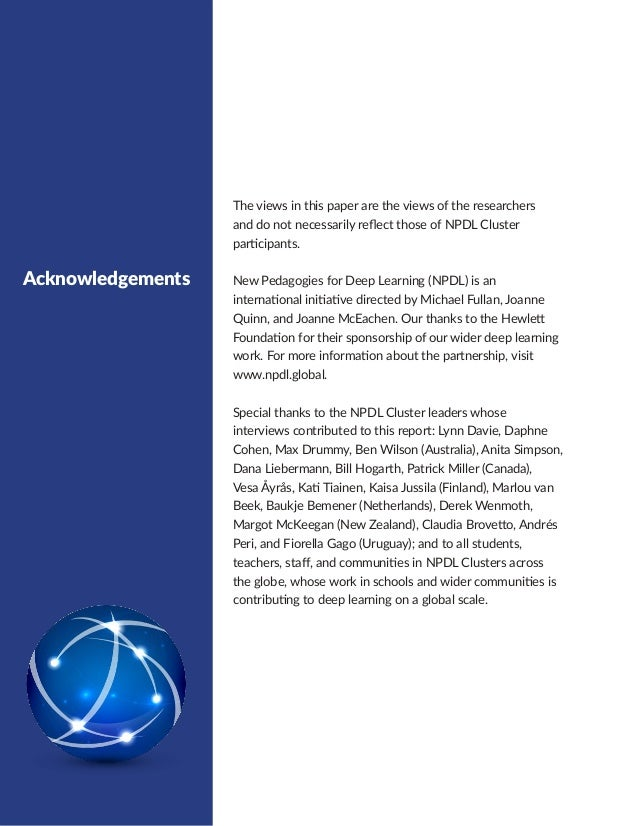 CONTENTS Executive Summary 1 The NPDL Global Partnership 2 Global Reporting 6 Deep Learning  7 The 6Cs 7 Deep Learnin...