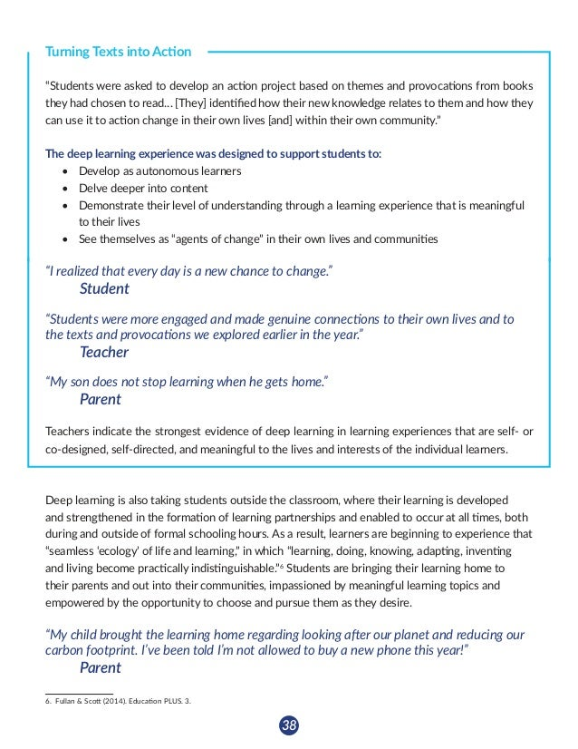 39 ` Creating a Culture of Learning (155) Teachers note that students are displaying competencies developed in one curricu...