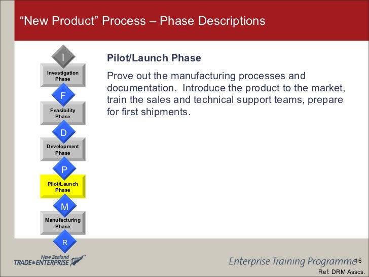 """New Product"" Process – Phase Descriptions <ul><li>Pilot/Launch Phase </li></ul><ul><li>Prove out the manufacturing proces..."