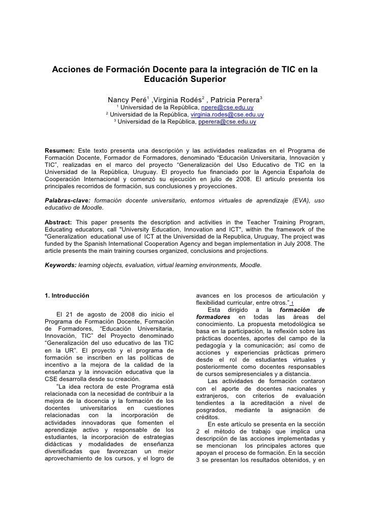 Acciones de Formación Docente para la integración de TIC en la                      Educación Superior                    ...