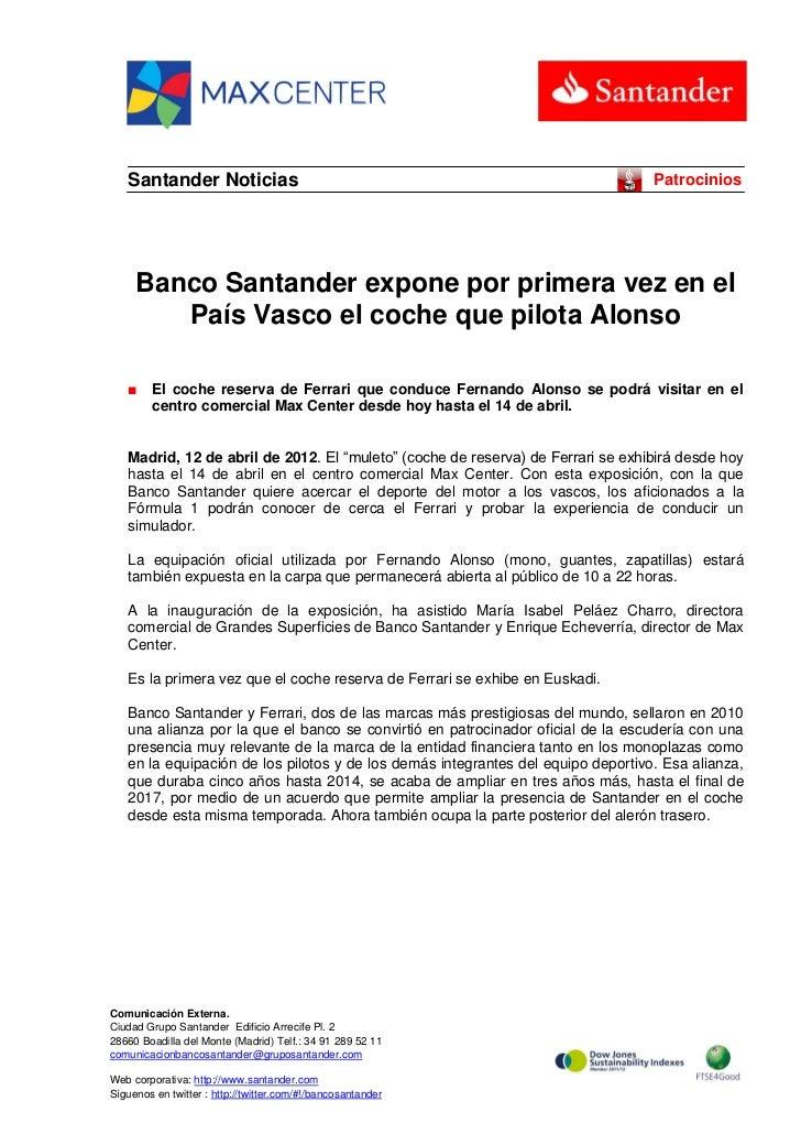 Santander Noticias                                                             Patrocinios     Banco Santander expone por ...